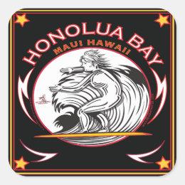HONOLUA BAY MAUI HAWAII SURFING SQUARE STICKER