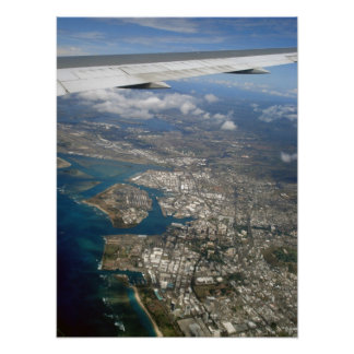 Honolulu and Pearl Harbor from the Plane Poster