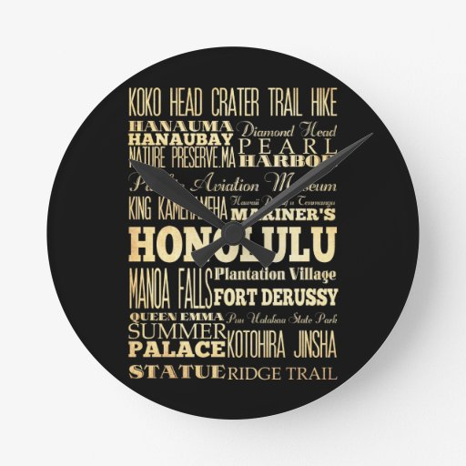 Honolulu City of Hawaii State Typography Art Round Clock