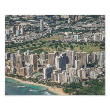 Beach Themed Honolulu City Skyline Poster