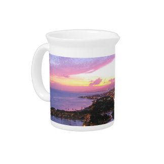 Honolulu cityscape Hawaii sunset Beverage Pitcher