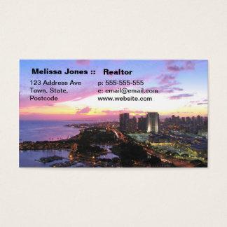 Honolulu cityscape Hawaii sunset Business Card