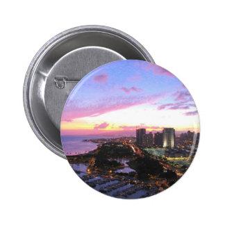 Honolulu cityscape Hawaii sunset Buttons
