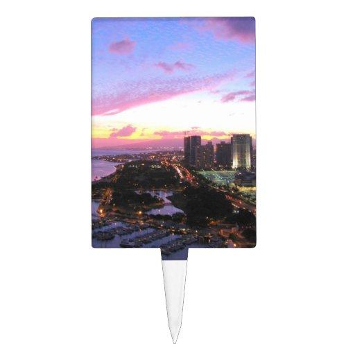 Honolulu cityscape Hawaii sunset Rectangular Cake Topper