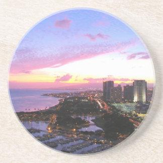 Honolulu cityscape Hawaii sunset Drink Coaster