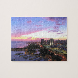 Honolulu cityscape Hawaii sunset Jigsaw Puzzle