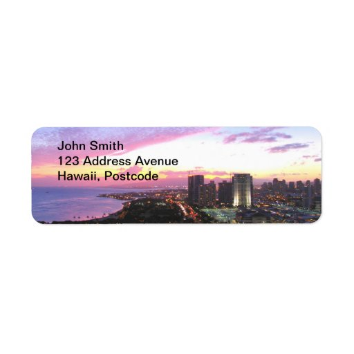 Honolulu cityscape Hawaii sunset Custom Return Address Labels