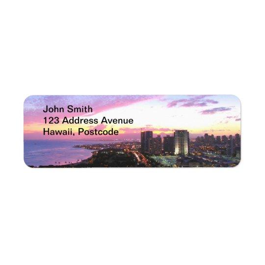 Honolulu cityscape Hawaii sunset Label