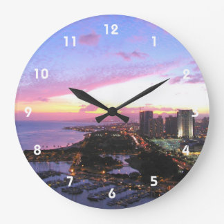 Honolulu cityscape Hawaii sunset Large Clock