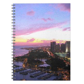 Honolulu cityscape Hawaii sunset Notebook
