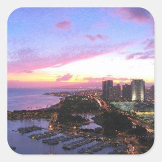 Honolulu cityscape Hawaii sunset Square Sticker
