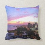 Honolulu cityscape Hawaii sunset Throw Pillows