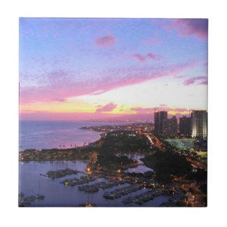 Honolulu cityscape Hawaii sunset Tile