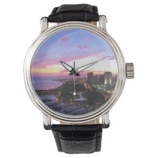 Honolulu cityscape Hawaii sunset Wristwatch