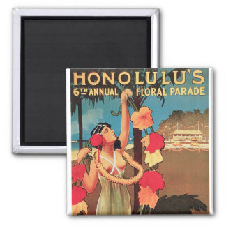 Honolulu, Hawaii 6th Annual Floral Parade 1911 2 Inch Square Magnet