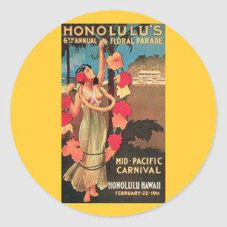 Honolulu, Hawaii 6th Annual Floral Parade 1911 Classic Round Sticker