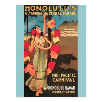 Honolulu, Hawaii 6th Annual Floral Parade 1911 Postcard