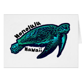 Honolulu Hawaii artistic sea turtle greeting card