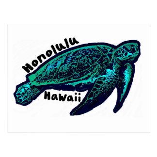 Honolulu Hawaii artistic sea turtle Postcard