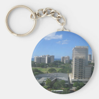 Honolulu, Hawaii City Shot Basic Round Button Keychain