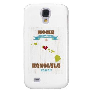 Honolulu, Hawaii Map – Home Is Where The Heart Is Samsung Galaxy S4 Case