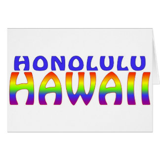 Honolulu Hawaii rainbow words Card