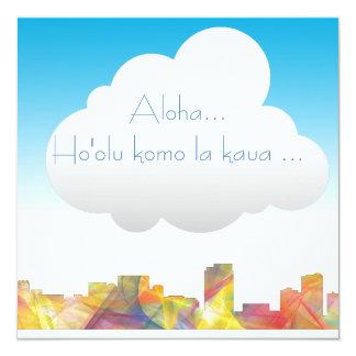 HONOLULU, HAWAII SKYLINE WB BW - CARD