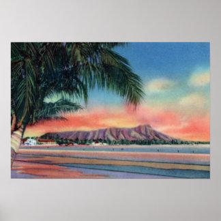 Honolulu Hawaii Sunset on Diamond Head Poster