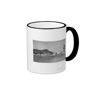 Honolulu, Hawaii - Surfers off Waikiki Beach Coffee Mug
