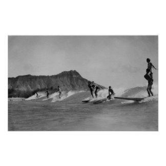 Honolulu, Hawaii - Surfers off Waikiki Beach Poster
