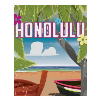 Honolulu, Hawaii,USA vintage travel poster. Poster