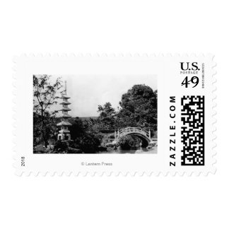 Honolulu, Hawaii - View of Moanolua Gardens Postage Stamp