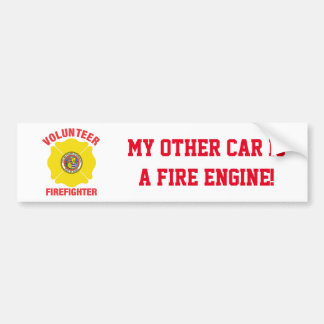 Honolulu, HI Flag Volunteer Firefighter Cross Bumper Sticker
