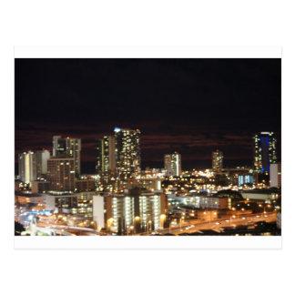 Honolulu Night Skyline Postcard