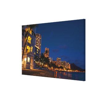 Honolulu, Oahu, Hawaii. Night exposure of Canvas Print