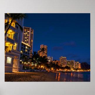 Honolulu, Oahu, Hawaii. Night exposure of Poster