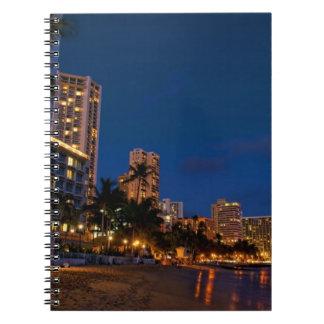 Honolulu, Oahu, Hawaii. Night exposure of Spiral Notebook