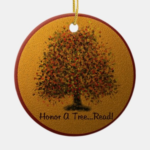 Honor a Tree Double-Sided Ceramic Round Christmas Ornament