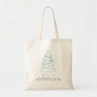 Honor Christmas in My Heart | Blue Tote Bag