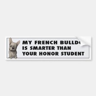 Honor (de color de ante) del dogo francés pegatina de parachoque