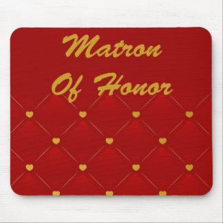 Honor de la matrona (rojo/oro) alfombrillas de ratón