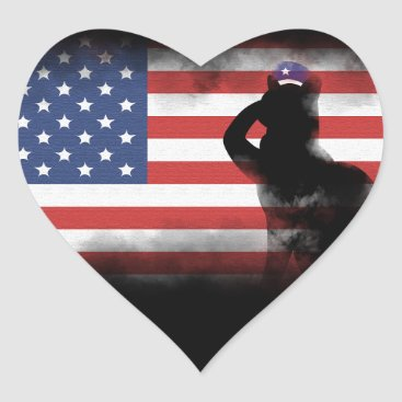 USA Themed Honor Our Heroes On Memorial Day Heart Sticker