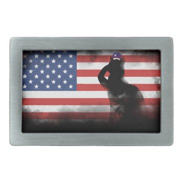 USA Themed Honor Our Heroes On Memorial Day Rectangular Belt Buckle