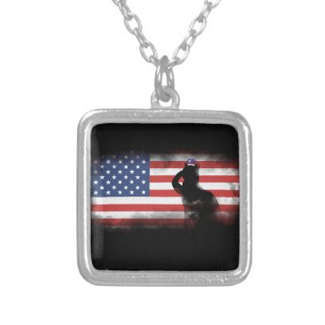 USA Themed Honor Our Heroes On Memorial Day Silver Plated Necklace