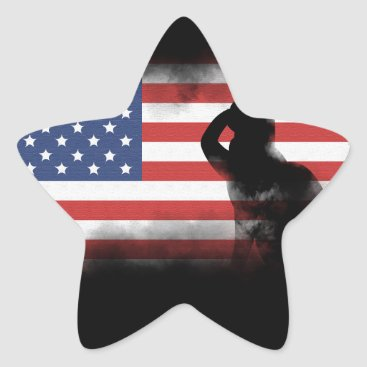 USA Themed Honor Our Heroes On Memorial Day Star Sticker