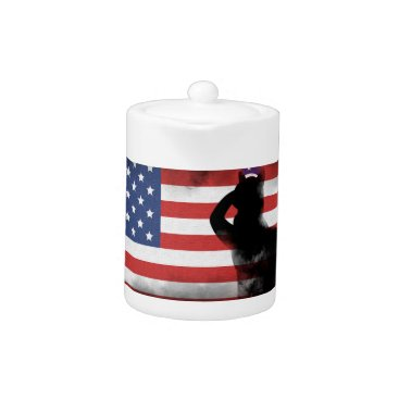 USA Themed Honor Our Heroes On Memorial Day Teapot