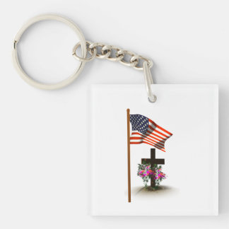 Honor Our Soldiers Single-Sided Square Acrylic Keychain