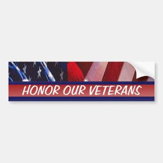Honor Our Veterans Car Bumper Sticker