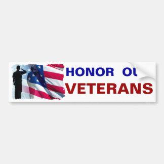 Honor our Veterans Patriotic Military Car Bumper Sticker