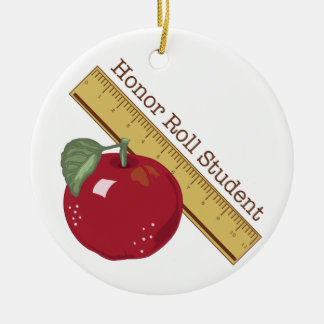 Honor Roll Double-Sided Ceramic Round Christmas Ornament